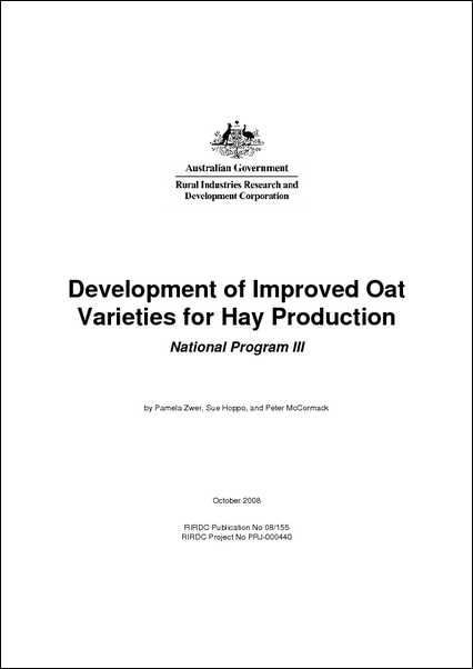 Development of improved oat varieties for hay production: National program III - image