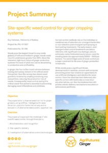 Project summary: Site-specific weed control for ginger cropping systems - image