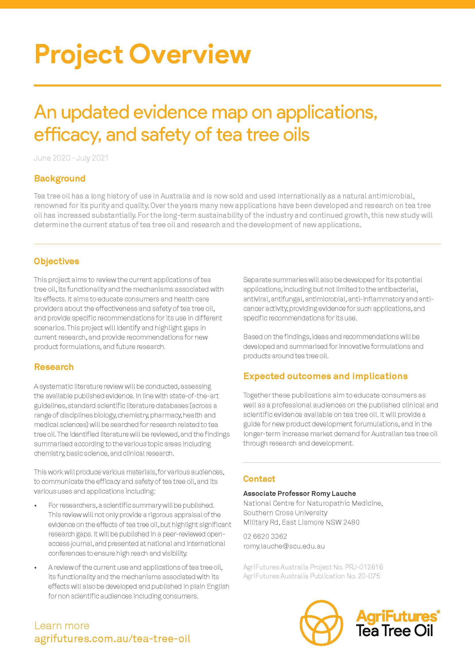 Project Summary: An updated evidence map on applications, efficacy, and safety of tea tree oils - image