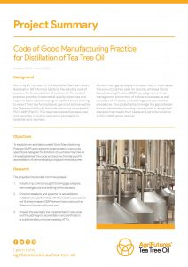 Project Summary: Code of Good Manufacturing Practice for Distillation of Tea Tree Oil - image
