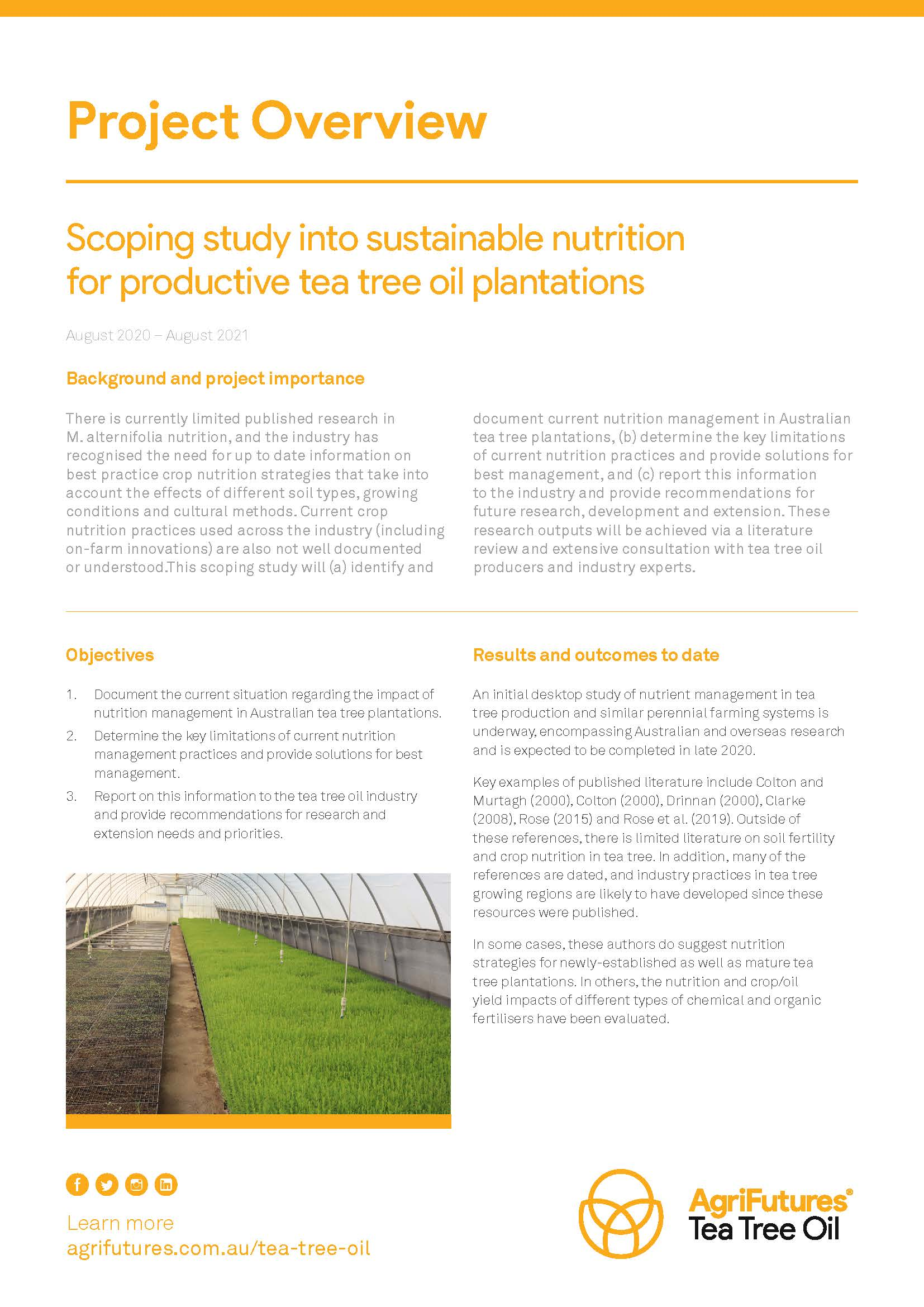 Project Overview: Scoping study into sustainable nutrition for productive tea tree oil plantations - image