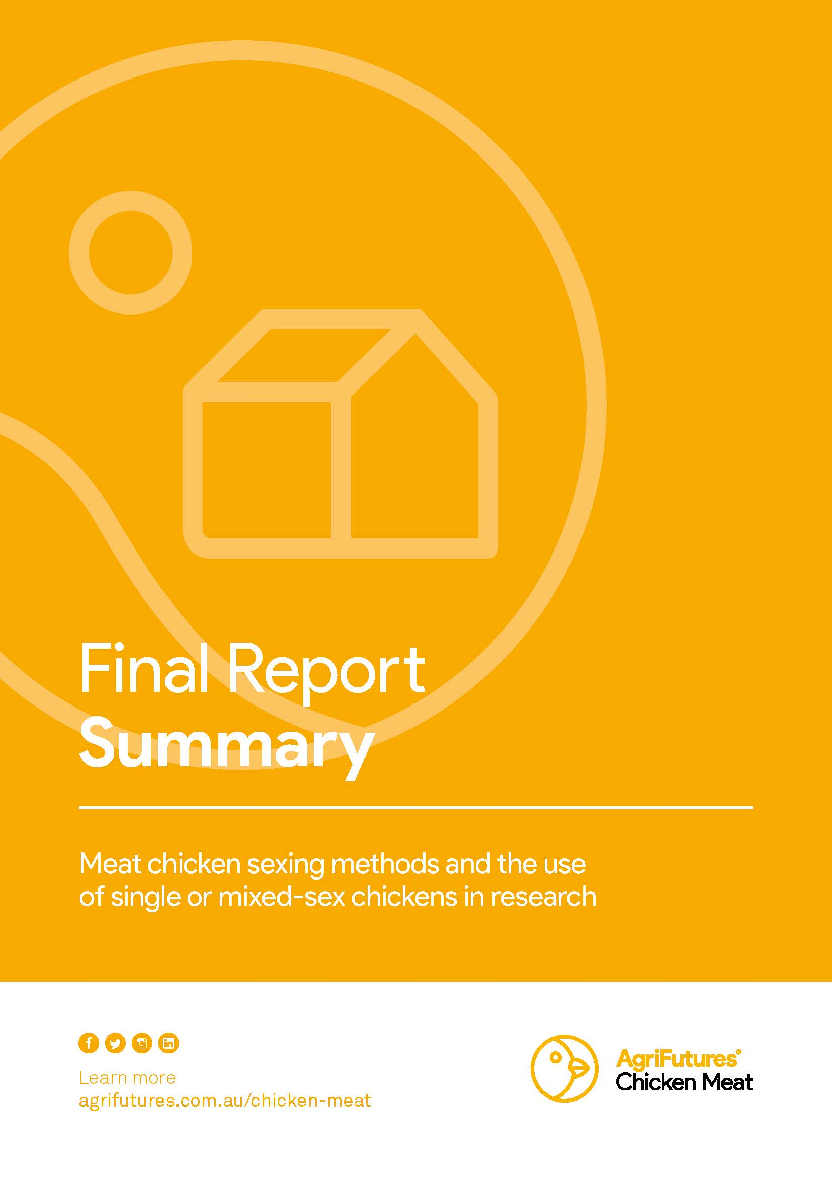 Final report summary: Meat chicken sexing methods and the use of single or mixed-sex chickens in research - image