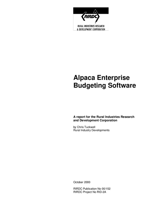 Alpaca enterprise budgeting software - image