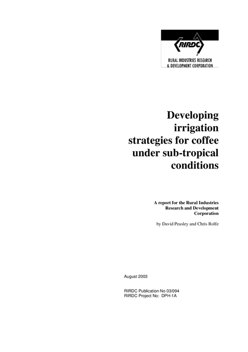 Developing irrigation strategies for coffee under sub-tropical conditions - image