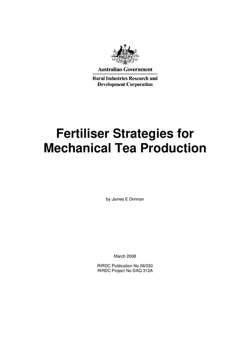 Fertiliser Strategies for Mechanical Tea Production - image