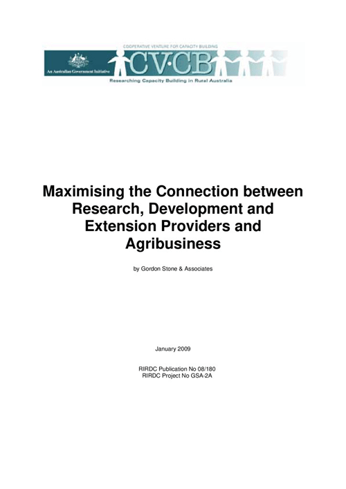 Maximising the connection between research, development and extension providers and agribusiness - image