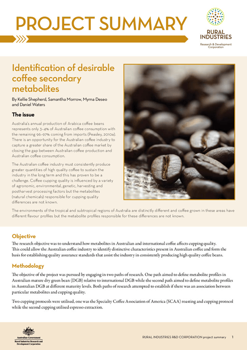 Identification of desireable coffee secondary metabolites - image