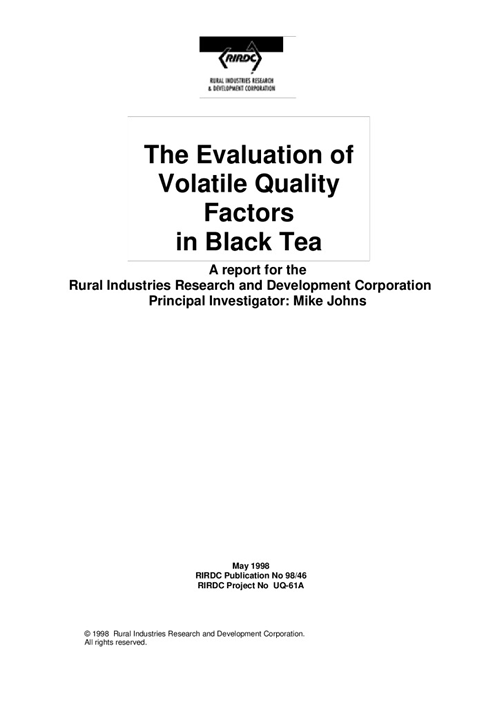 Evaluation of Volatile Quality Factors in Black Tea - image